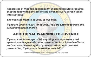 image regarding Miranda Warning Card Printable referred to as Regulation Enforcement Goods